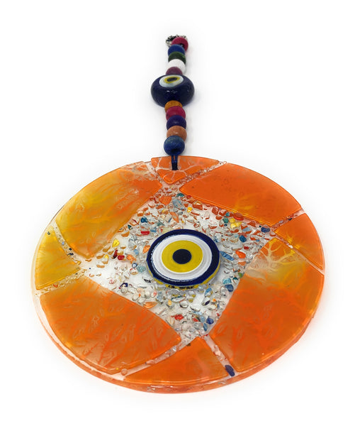 Wall hanging glass, glass art, fusion art , wall hanging evil eyes