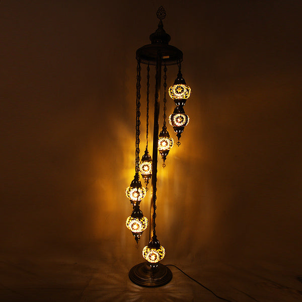 Woodymood Floor Mosaic Lamp 7 Ball-Flower Amber
