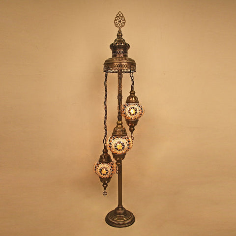 Woodymood Floor Mosaic Lamp 3 Ball-Flower Amber