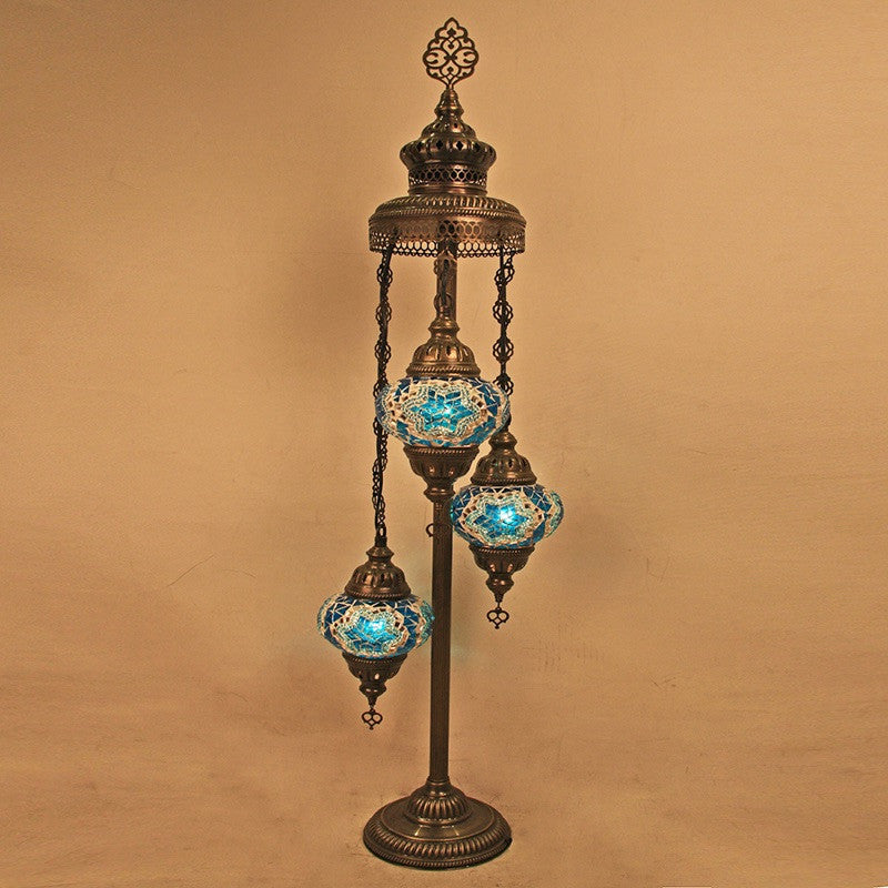 Woodymood Floor Mosaic Lamp 3 Ball-Star Turquoise