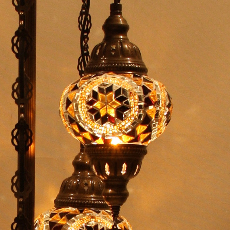 ... Woodymood Floor Mosaic Lamp 5 Ball Flower Amber ...