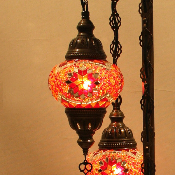 Woodymood Floor Mosaic Lamp 5 Ball-Star Red
