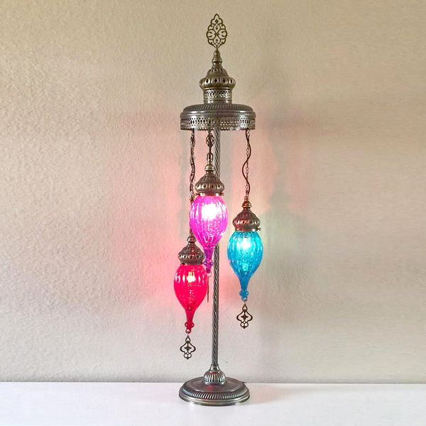 Woodymood Stunning Handmade Turkish, Handmade Oven Glass Floor Lamp with Brass&Glass 3 Ball-Multi Color