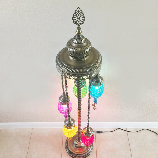 Woodymood Stunning Handmade Turkish, Handmade Oven Glass Floor Lamp with Brass&Glass 5 Ball-Multi Color