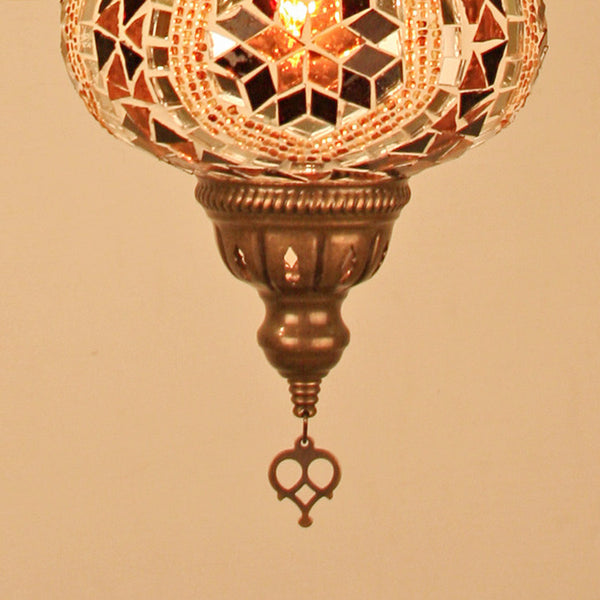 "Woodymood Ceiling Mosaic Lamp 6.5"" 1 Ball -Flower Amber"