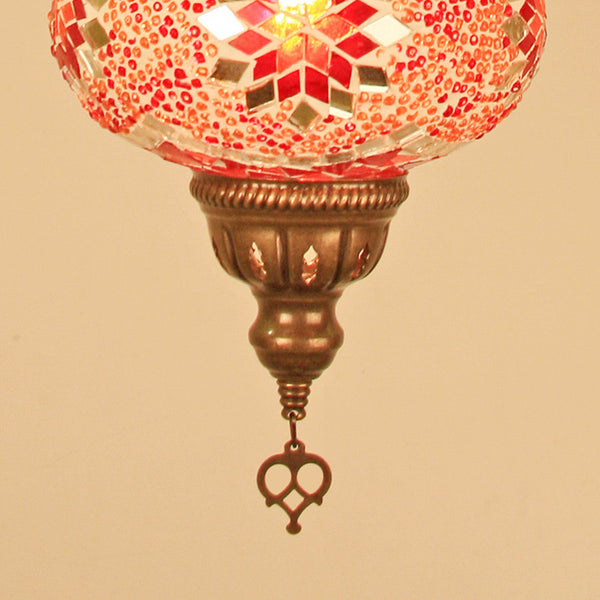 "Woodymood Ceiling Mosaic Lamp 6.5"" 1 Ball - Star Red"
