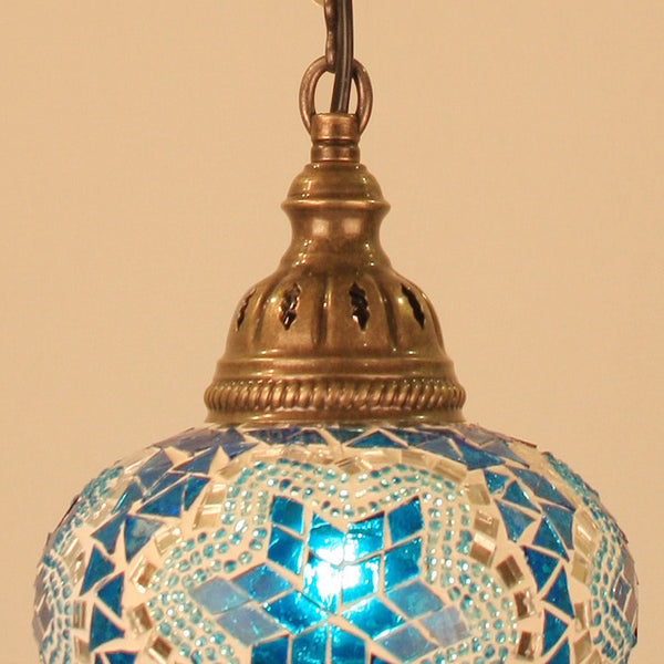 "Woodymood Ceiling Mosaic Lamp 6.5"" 1 Ball - Star Turquoise"