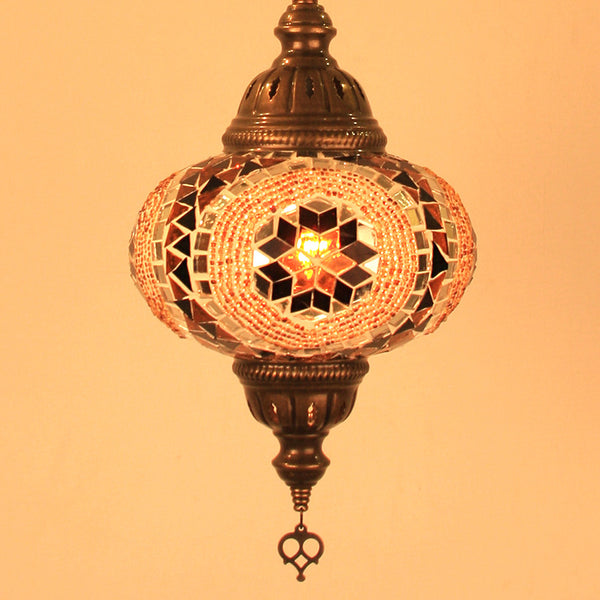 Woodymood Ceiling Mosaic Lamp 6.7'' 1 Ball - Flower Amber