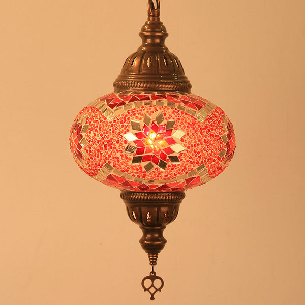 Woodymood Ceiling Mosaic Lamp 6.7'' 1 Ball - Star Red