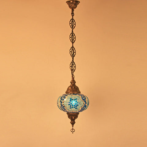 Woodymood Ceiling Mosaic Lamp 6.7'' 1 Ball - Star Turquoise