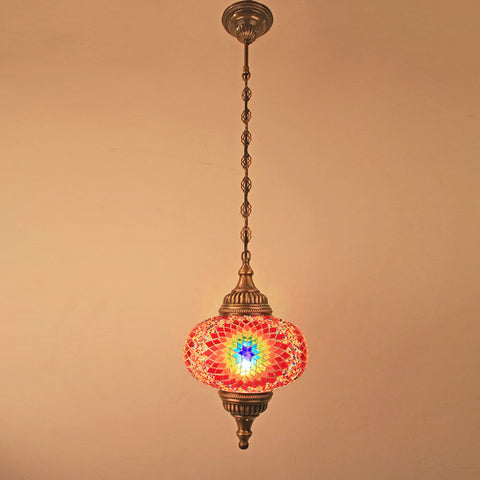 "Woodymood Ceiling Mosaic Lamp 9"" 1 Ball - Flame"