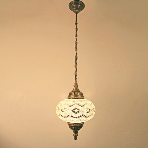 "Woodymood Ceiling Mosaic Lamp 9"" 1 Ball - White"