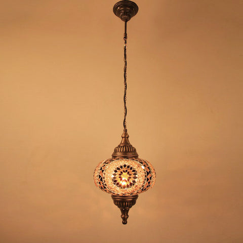 "Woodymood Ceiling Mosaic Lamp 9"" 1 Ball - Flower Amber"