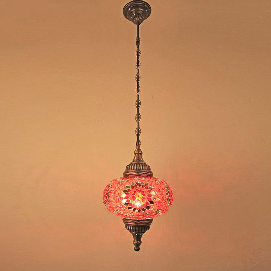 "Woodymood Ceiling Mosaic Lamp 9"" 1 Ball - Star Red"