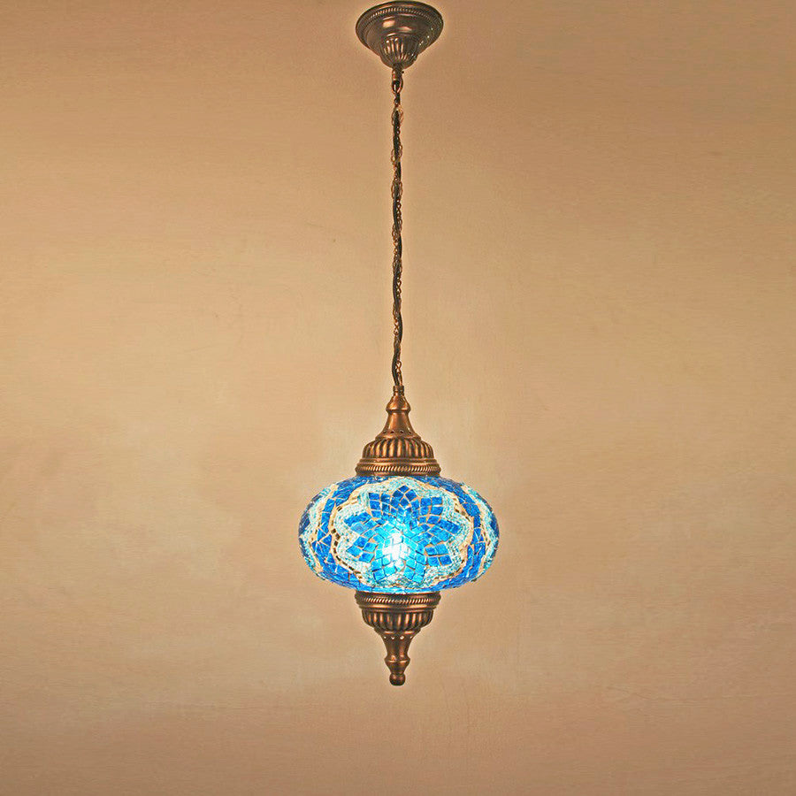 "Woodymood Ceiling Mosaic Lamp 9"" 1 Ball - Star Turquoise"