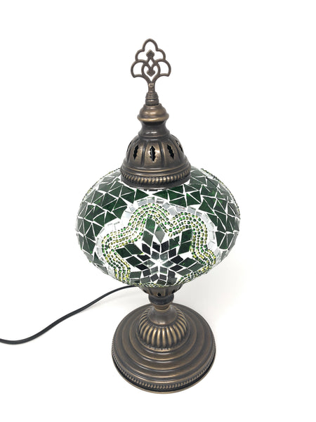 "Woodymood Mosaic Table Lamp 7"" 1 Ball-Green"