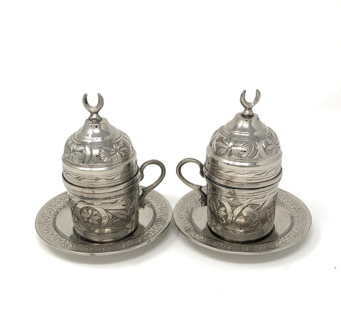 Hand Made Turkish Coffee Set, Nickel Plated Copper Espresso Set, Traditional Turkish coffee set, 2 pieces
