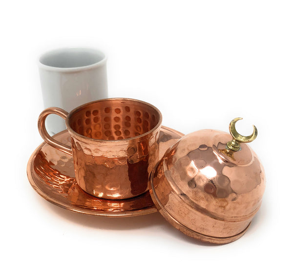Hand Made Turkish Coffee Cup, Copper Espresso Set, Traditional Turkish coffee cup