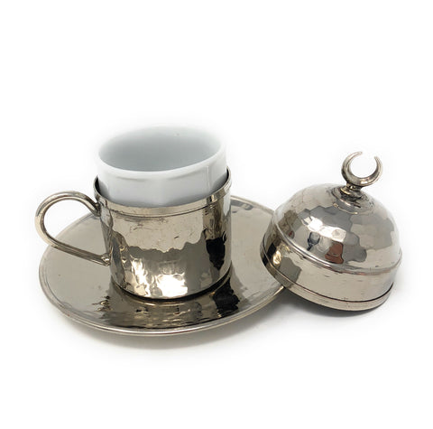 Hand Made Turkish Coffee Set, Nickel Plated Copper Espresso Set, Traditional Turkish coffee set