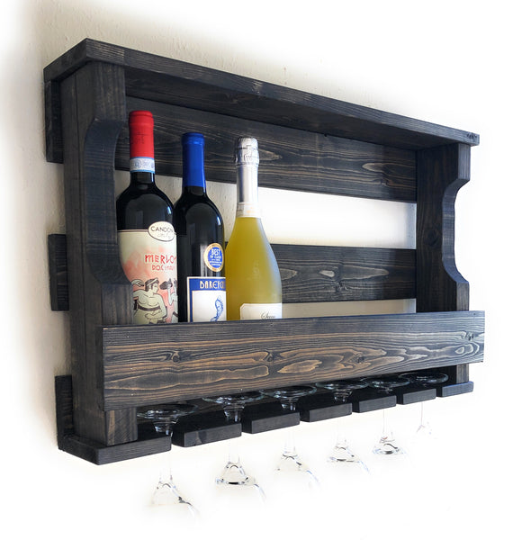 Woodymood Hangover Wine Rack Glass Holder-Ebony