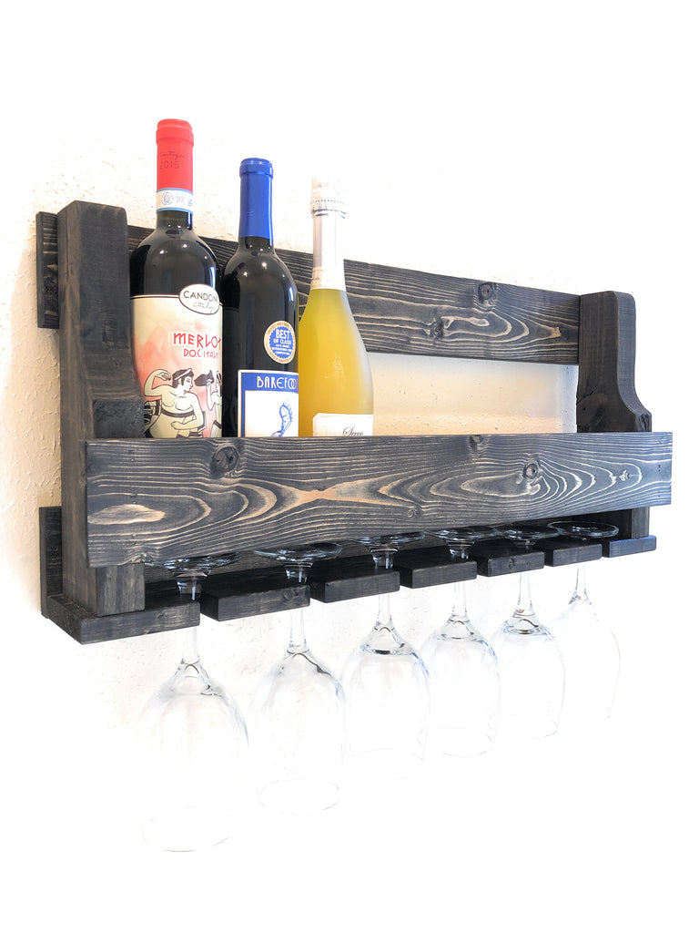 Woodymood Natural Wine Rack Gloss Holder-Ebony