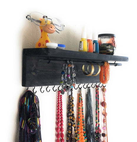Jewelry Organizer Wall Hanging, Necklace Earring Organizer, Necklace Hanger, Jewelry Storage, Bracelet Holder-Ebony
