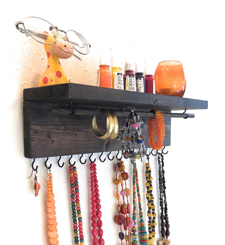 Jewelry Organizer Wall Hanging, Necklace Earring Organizer, Necklace Hanger, Jewelry Storage, Bracelet Holder-Brown