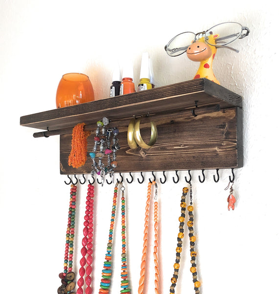 Jewelry Organizer Wall Hanging, Necklace Earring Organizer, Necklace Hanger, Jewelry Storage, Bracelet Holder-Aging Brown