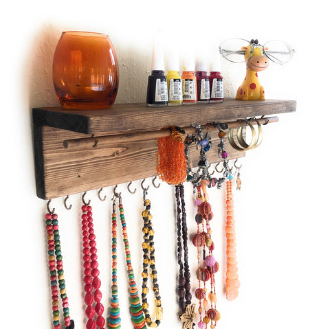 Jewelry Organizer Wall Hanging, Necklace Earring Organizer, Necklace Hanger, Jewelry Storage, Bracelet Holder-Provincial