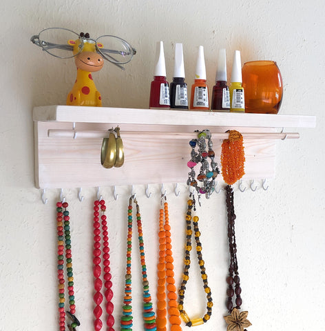 Jewelry Organizer Wall Hanging, Necklace Earring Organizer, Necklace Hanger, Jewelry Storage, Bracelet Holder-White