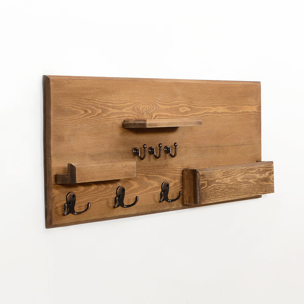 Woodymood Happy Wall Organizer Shelf, Key Hooks, Mail pocket, Coat Hooks, W:23.5'' L:3.4'' H:12'' (Brown)