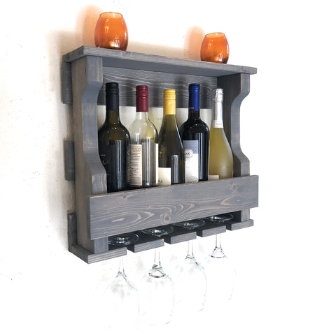 Woodymood Mini Hangover Wine Rack Glass Holder-Classic Gray