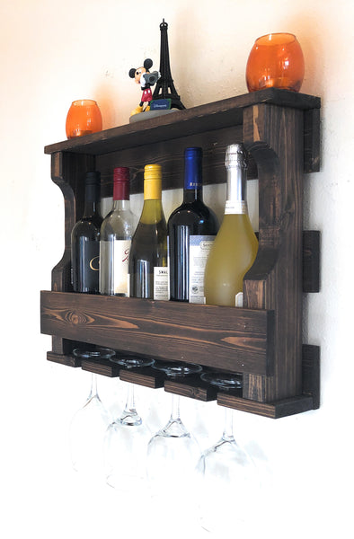 Woodymood Mini Hangover Wine Rack Glass Holder-Dark Hazelnut