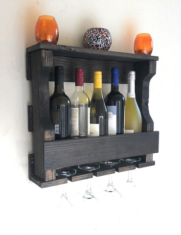 Woodymood Mini Hangover Wine Rack Glass Holder-Dark Brown