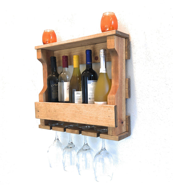 Woodymood Mini Hangover Wine Rack Glass Holder-Golden Oak