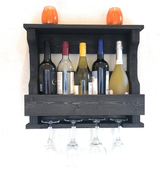 Woodymood Mini Hangover Wine Rack Glass Holder-Ebony