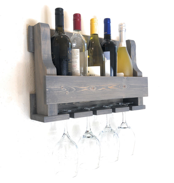 Woodymood Mini Natural Wine Rack Glass Holder-Classic Gray