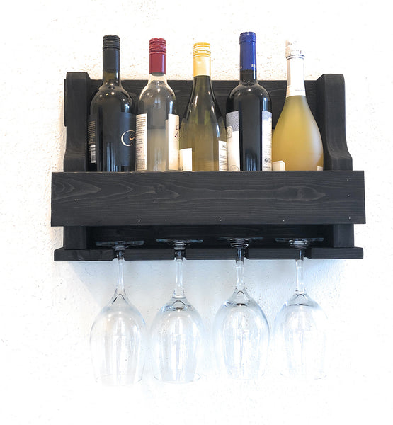 Woodymood Mini Natural Wine Rack Glass Holder-Ebony