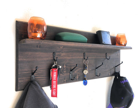 Wall Organizer Shelf, Mail shelf, Key hooks, Coat Hangers
