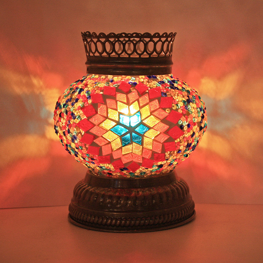 Woodymood Mosaic T light/Candle Holder-Flame