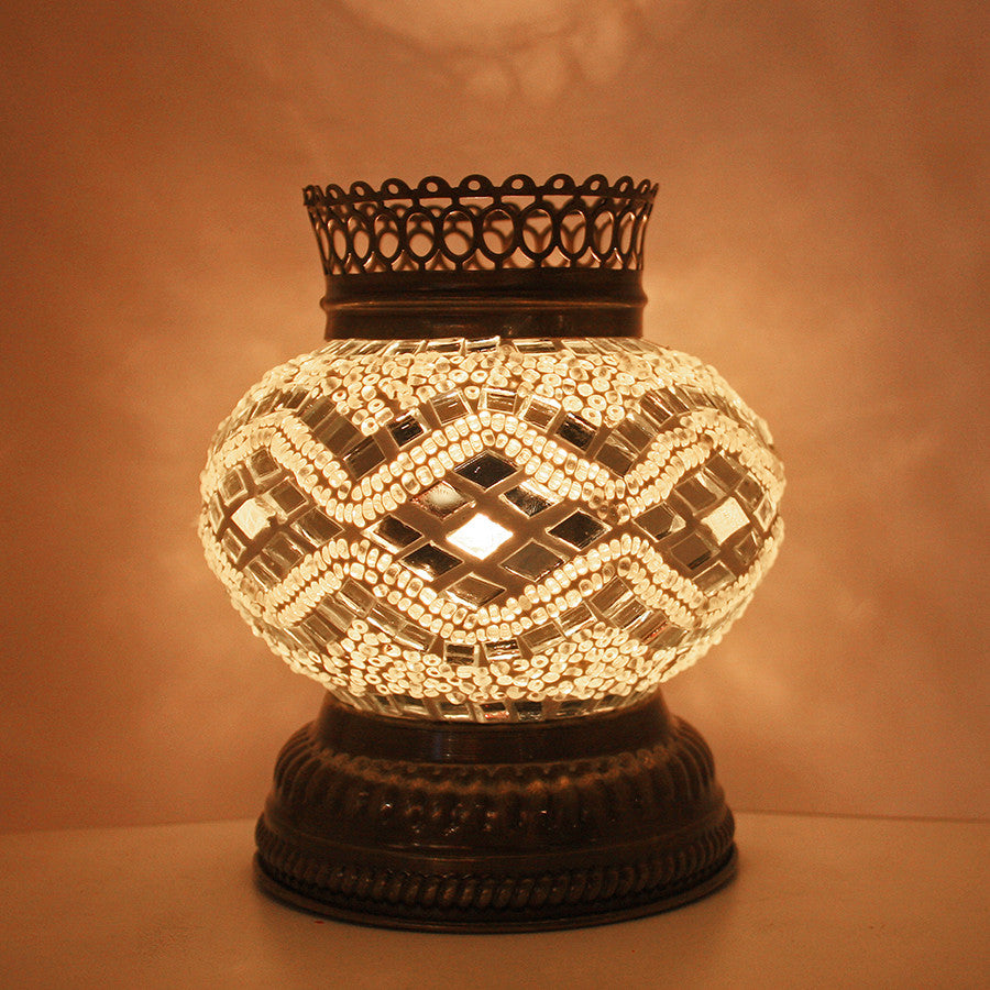 Woodymood Mosaic T light/Candle Holder-White
