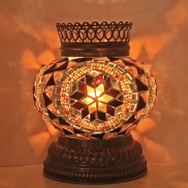 Woodymood Mosaic T light/Candle Holder-Flower Amber