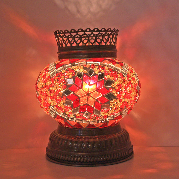 Woodymood Mosaic T light/Candle Holder-Star Red