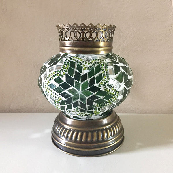 Woodymood Mosaic T light/Candle Holder-Green