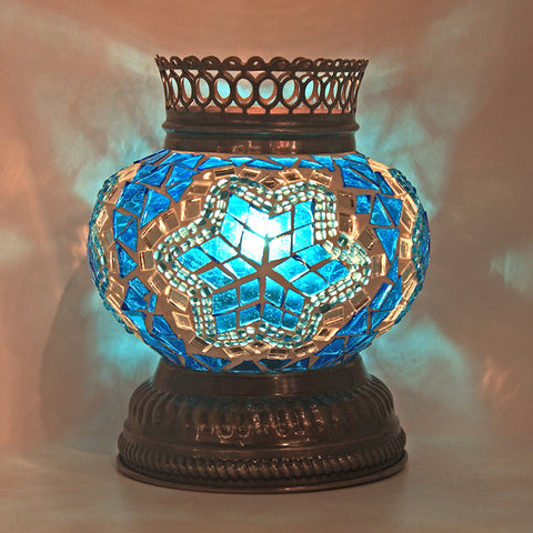 Woodymood Mosaic T light/Candle Holder-Star Turquoise