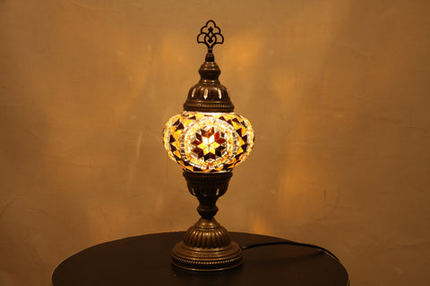 Woodymood Mosaic Table Lamp 5'' 1 Ball-Flower Amber