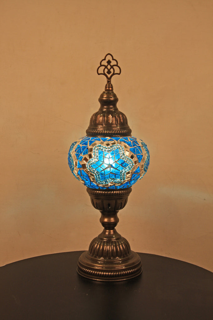 Woodymood Mosaic Table Lamp 5'' 1 Ball-Star Turquoise