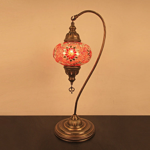 Woodymood Mosaic Swan Neck Table Lamp Medium-Star Red
