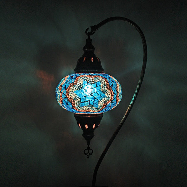 Woodymood Mosaic Swan Neck Table Lamp Medium-Star Turquoise