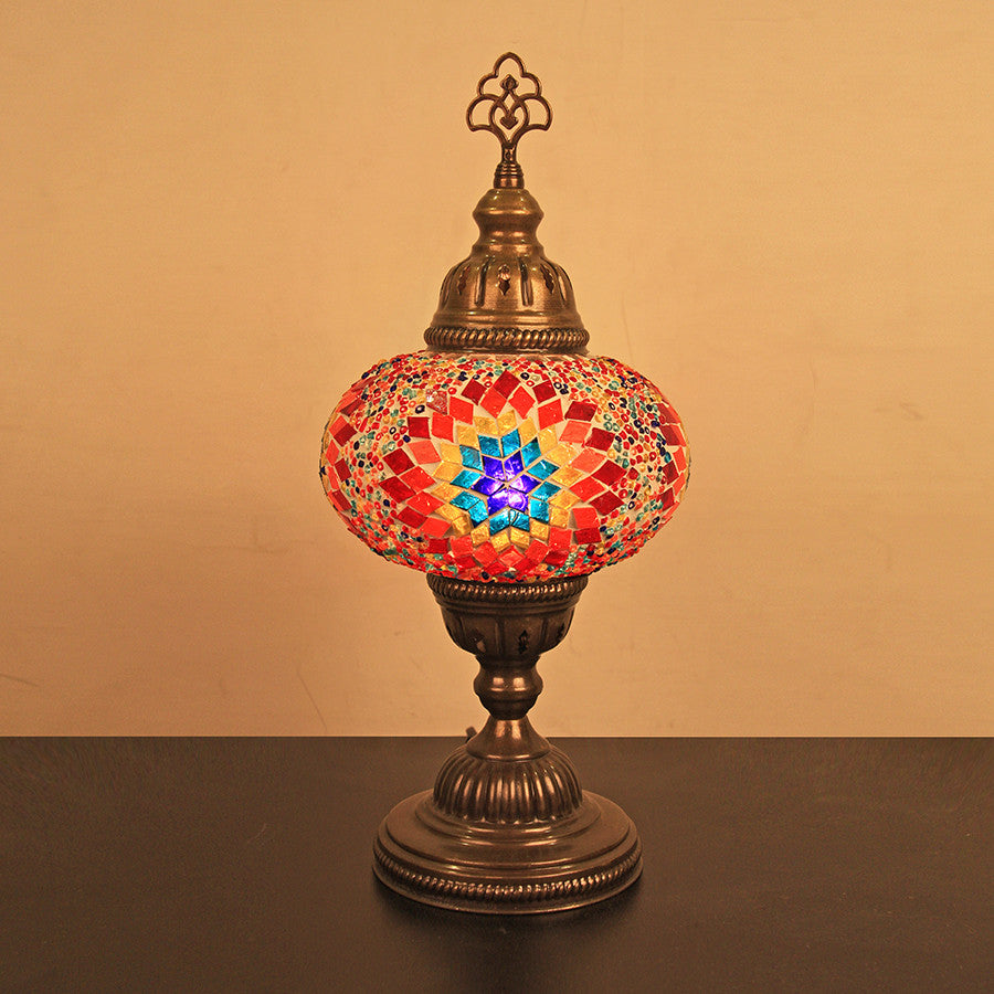"Woodymood Mosaic Table Lamp 6.5"" 1 Ball-Flame"